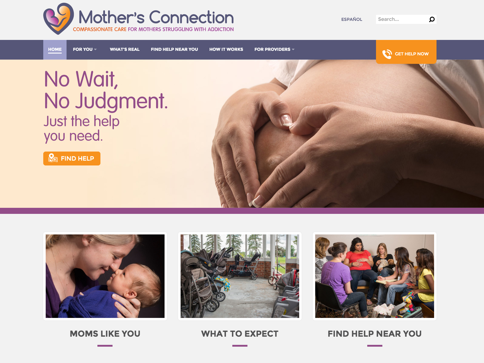 Mother's Connect web design